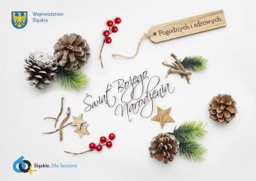 Grafika przedstawiająca życzenia: Zdrowych i pogodnych Świąt Bożego Narodzenia oraz samych szczęśliwych dni  w nadchodzącym Nowym Roku